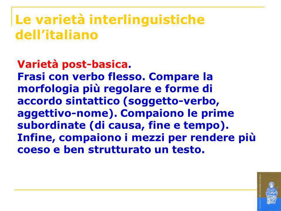 Le varietà interlinguistiche dell'italiano