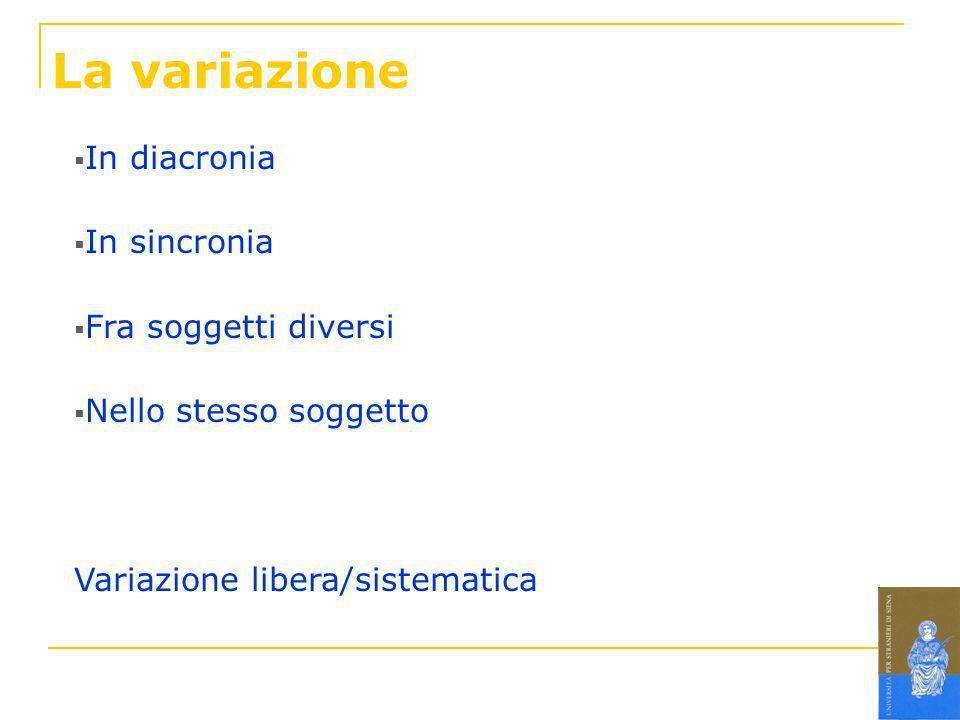 La variazione In diacronia In sincronia Fra soggetti diversi