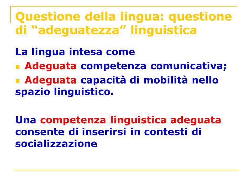 Questione della lingua: questione di adeguatezza linguistica
