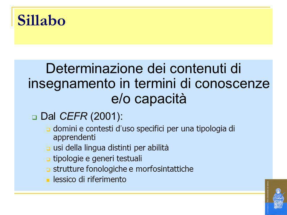 Sillabo Determinazione dei contenuti di insegnamento in termini di conoscenze e/o capacità. Dal CEFR (2001):