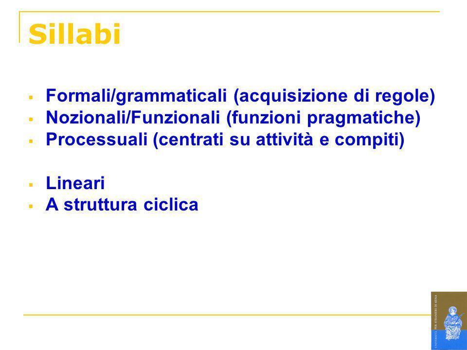 Sillabi Formali/grammaticali (acquisizione di regole)