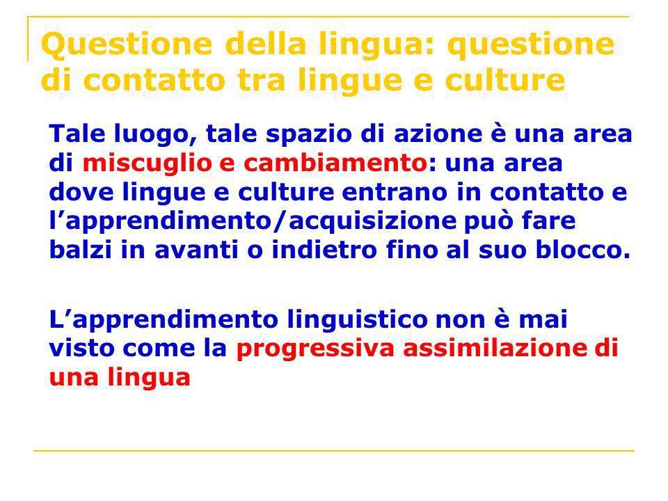 Questione della lingua: questione di contatto tra lingue e culture
