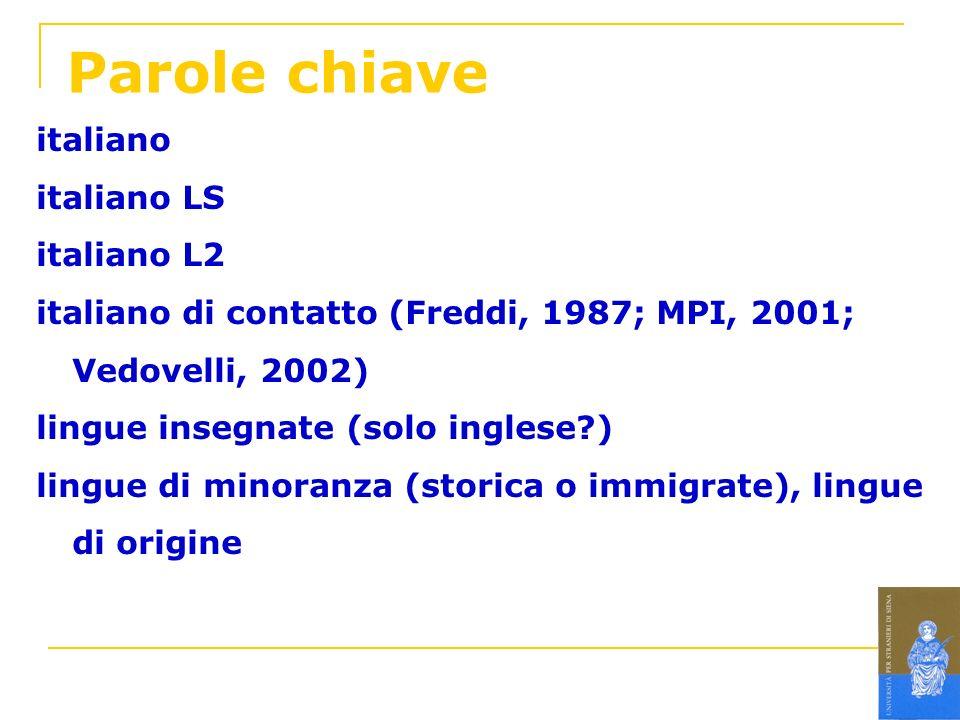 Parole chiave italiano italiano LS italiano L2