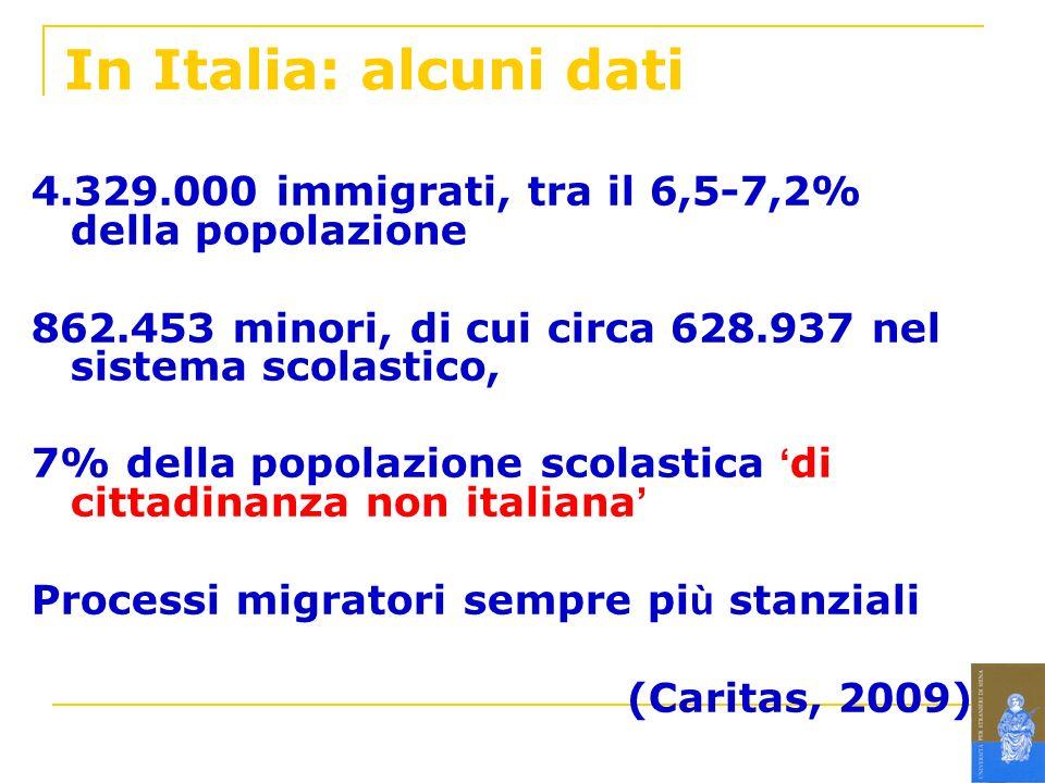 In Italia: alcuni dati 4.329.000 immigrati, tra il 6,5-7,2% della popolazione. 862.453 minori, di cui circa 628.937 nel sistema scolastico,