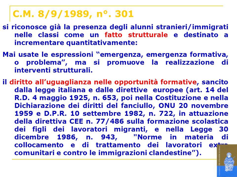 C.M. 8/9/1989, n°. 301