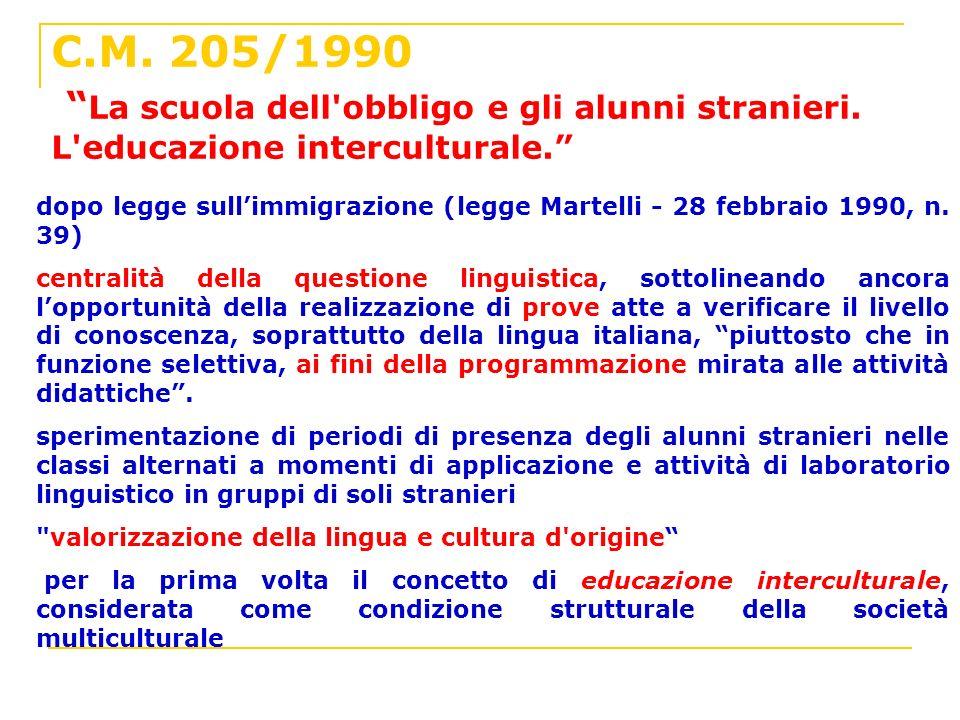 C. M. 205/1990 La scuola dell obbligo e gli alunni stranieri
