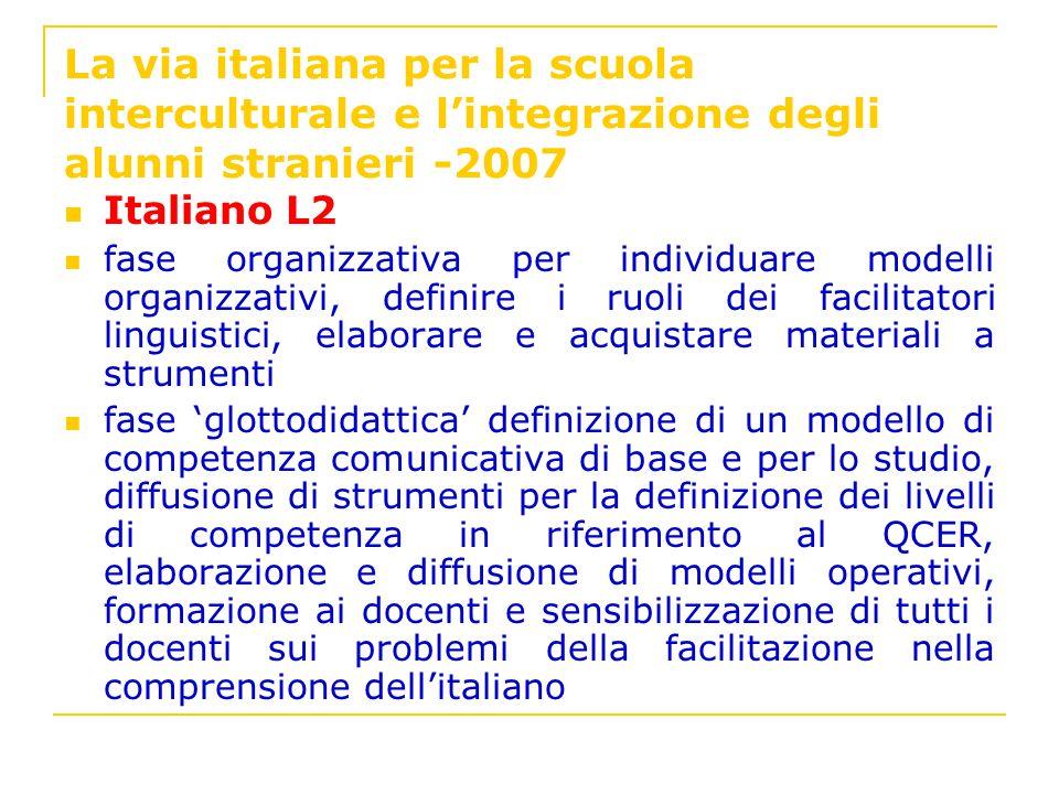 La via italiana per la scuola interculturale e l'integrazione degli alunni stranieri -2007