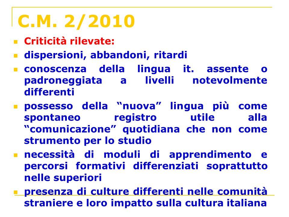 C.M. 2/2010 Criticità rilevate: dispersioni, abbandoni, ritardi