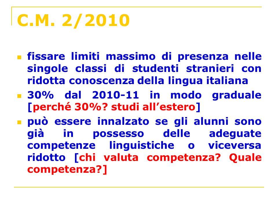 C.M. 2/2010 fissare limiti massimo di presenza nelle singole classi di studenti stranieri con ridotta conoscenza della lingua italiana.