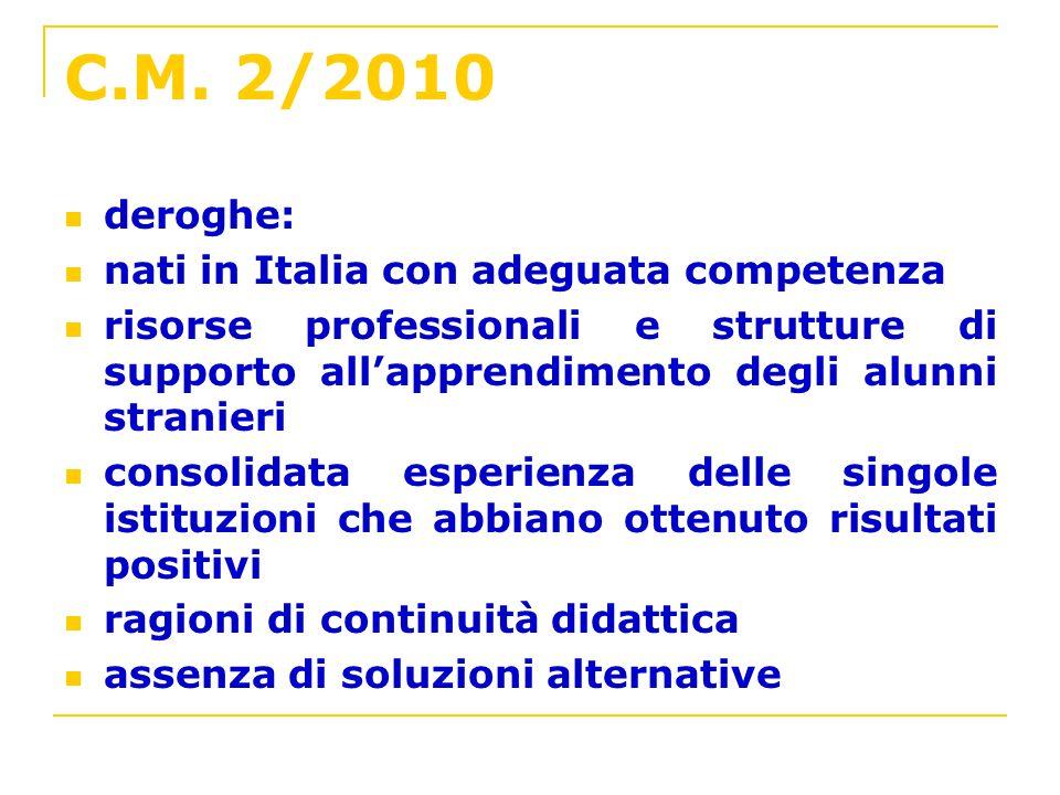 C.M. 2/2010 deroghe: nati in Italia con adeguata competenza