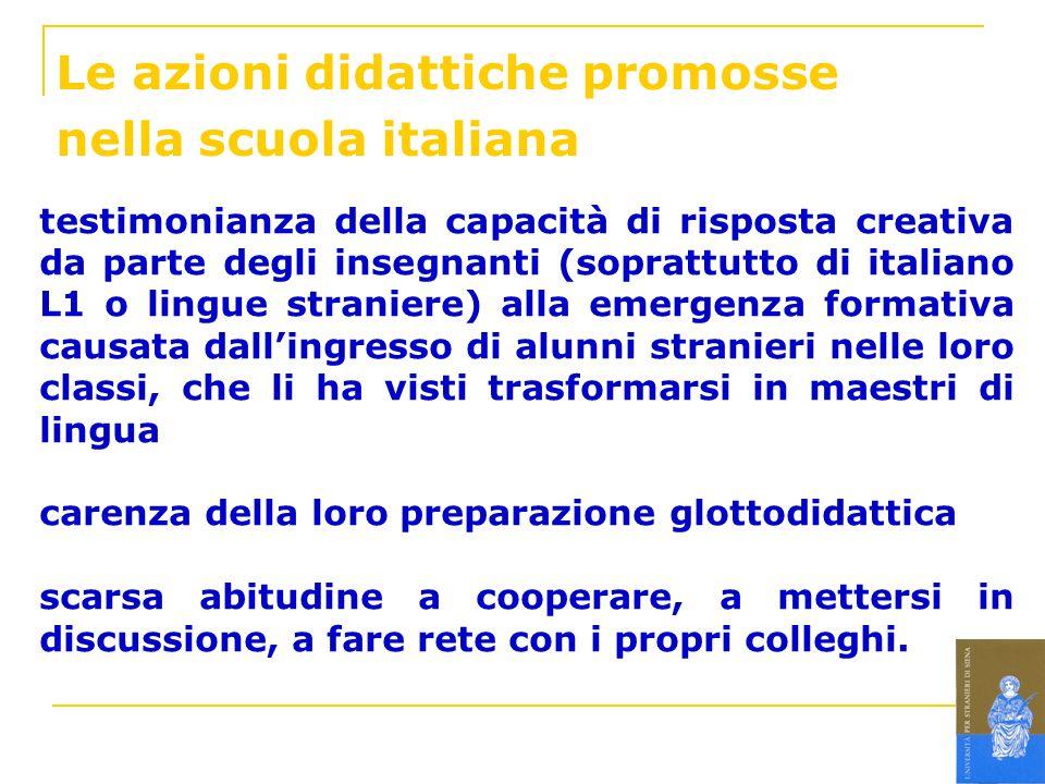 Le azioni didattiche promosse nella scuola italiana