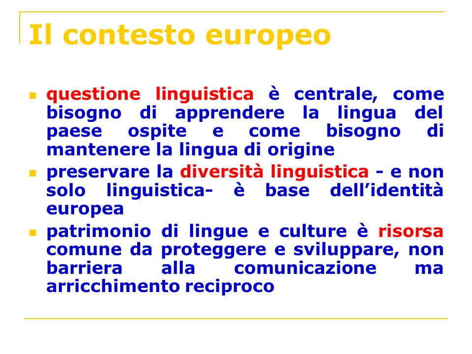 Il contesto europeo