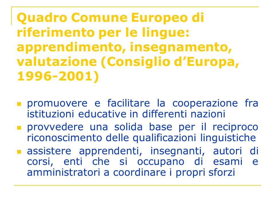 Quadro Comune Europeo di riferimento per le lingue: apprendimento, insegnamento, valutazione (Consiglio d'Europa, 1996-2001)
