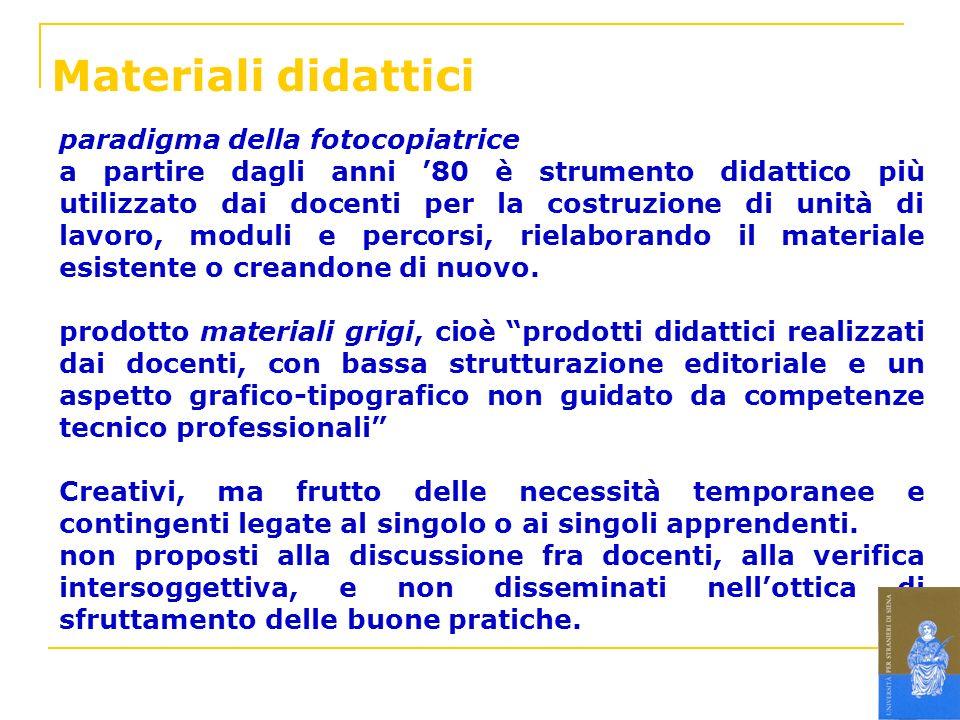 Materiali didattici paradigma della fotocopiatrice