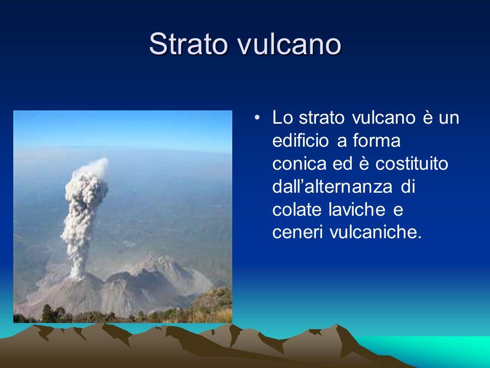 Strato vulcano Lo strato vulcano è un edificio a forma conica ed è costituito dall'alternanza di colate laviche e ceneri vulcaniche.