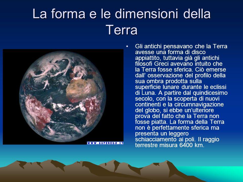 La forma e le dimensioni della Terra