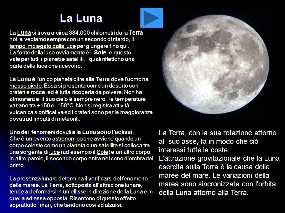 La LunaLa Luna si trova a circa 384.000 chilometri dalla Terra. noi la vediamo sempre con un secondo di ritardo, il.