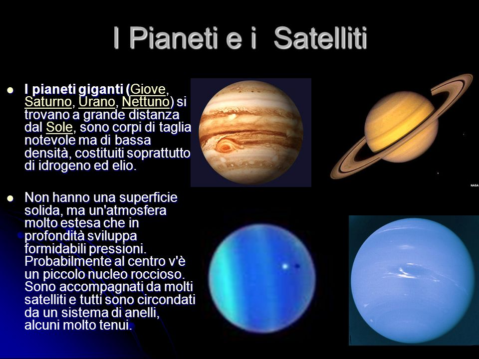 I Pianeti e i Satelliti