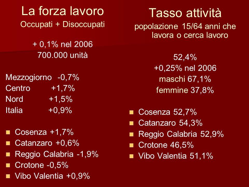 La forza lavoro Tasso attività Occupati + Disoccupati