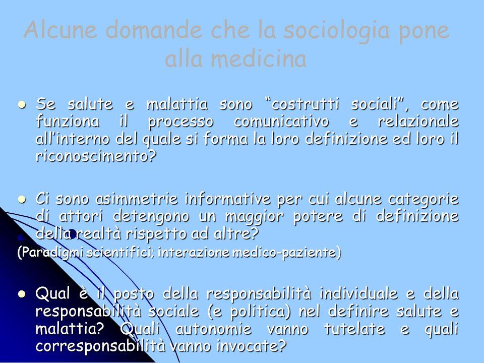 Alcune domande che la sociologia pone alla medicina