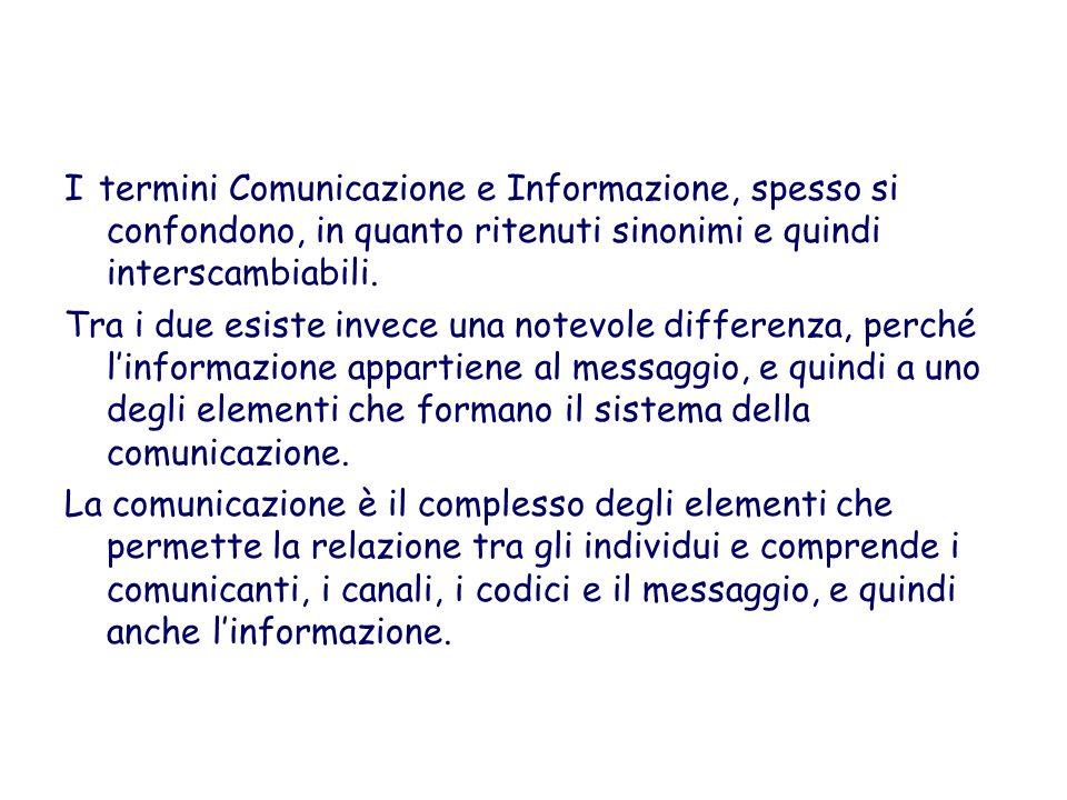 I termini Comunicazione e Informazione, spesso si confondono, in quanto ritenuti sinonimi e quindi interscambiabili.
