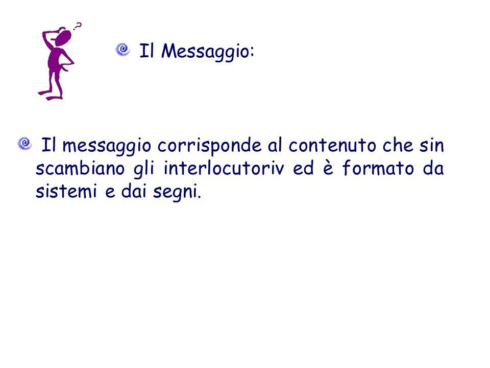 Il Messaggio:Il messaggio corrisponde al contenuto che sin scambiano gli interlocutoriv ed è formato da sistemi e dai segni.