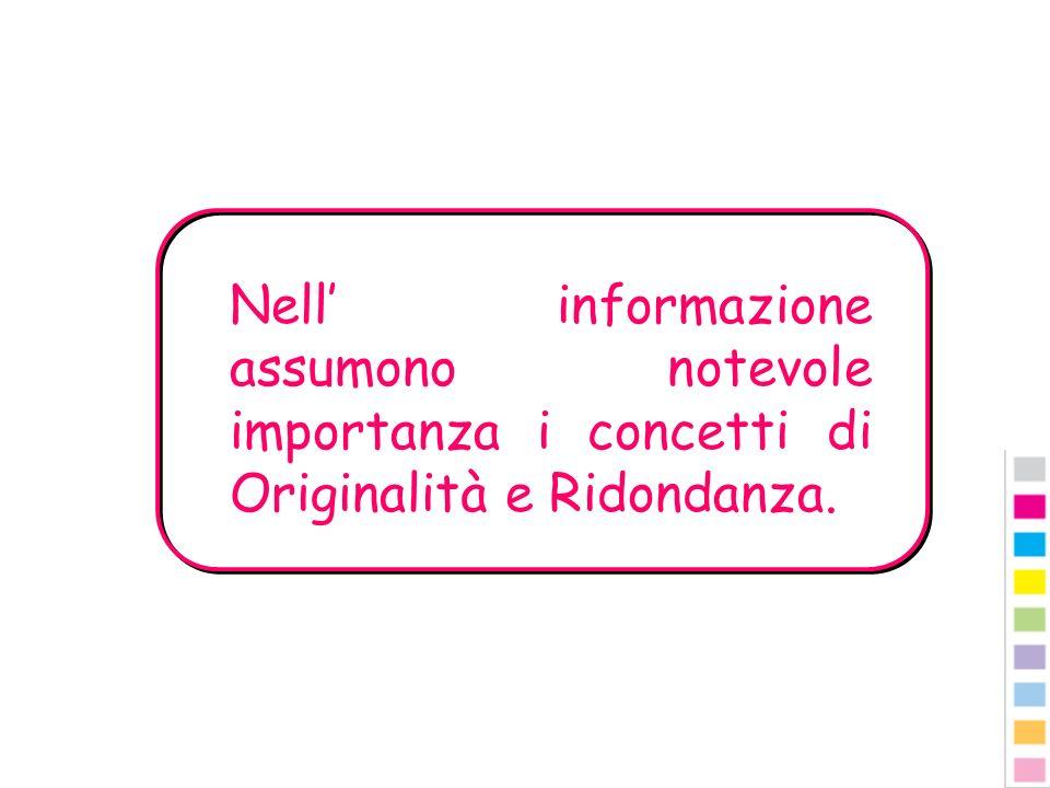 Nell' informazione assumono notevole importanza i concetti di Originalità e Ridondanza.