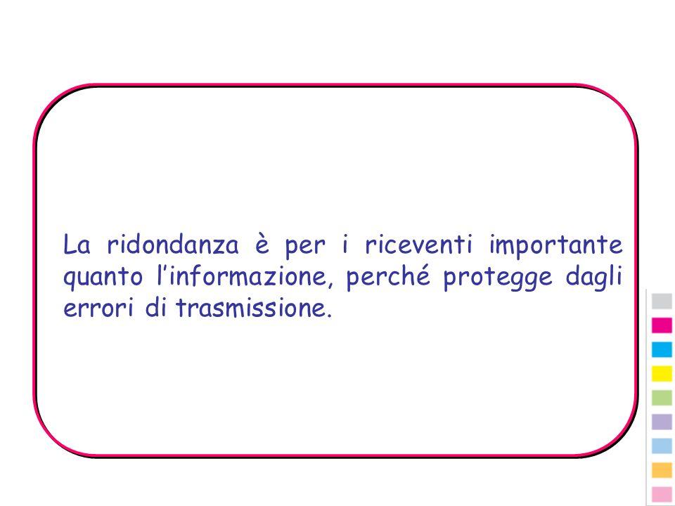 La ridondanza è per i riceventi importante quanto l'informazione, perché protegge dagli errori di trasmissione.