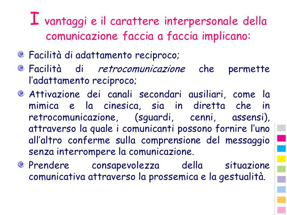 I vantaggi e il carattere interpersonale della comunicazione faccia a faccia implicano: