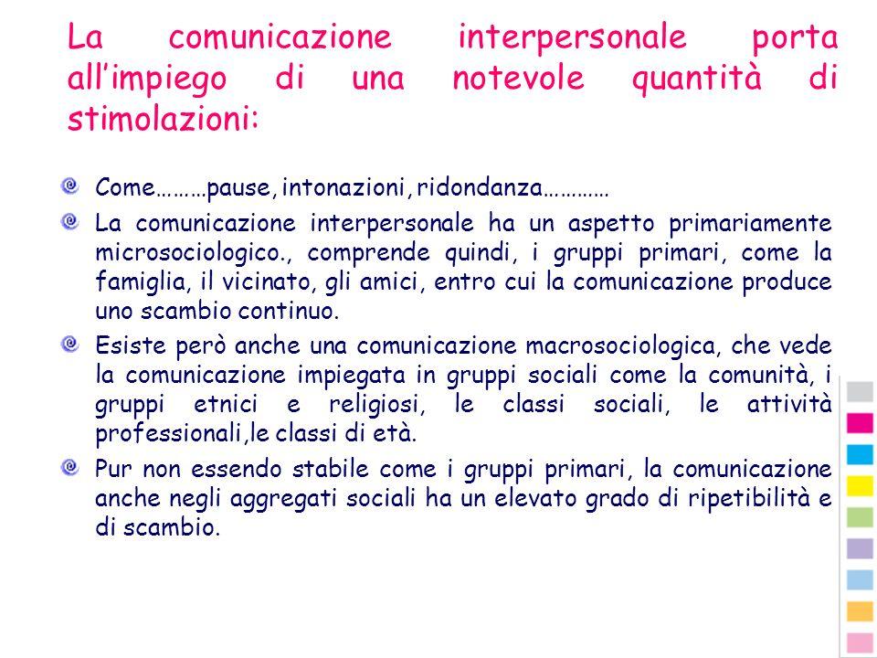 La comunicazione interpersonale porta all'impiego di una notevole quantità di stimolazioni: