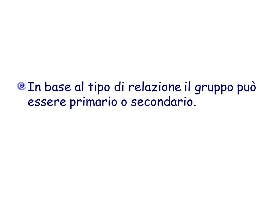 In base al tipo di relazione il gruppo può essere primario o secondario.