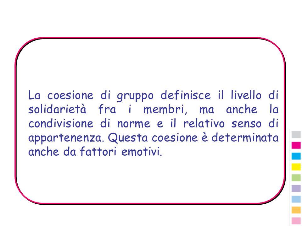 La coesione di gruppo definisce il livello di solidarietà fra i membri, ma anche la condivisione di norme e il relativo senso di appartenenza.