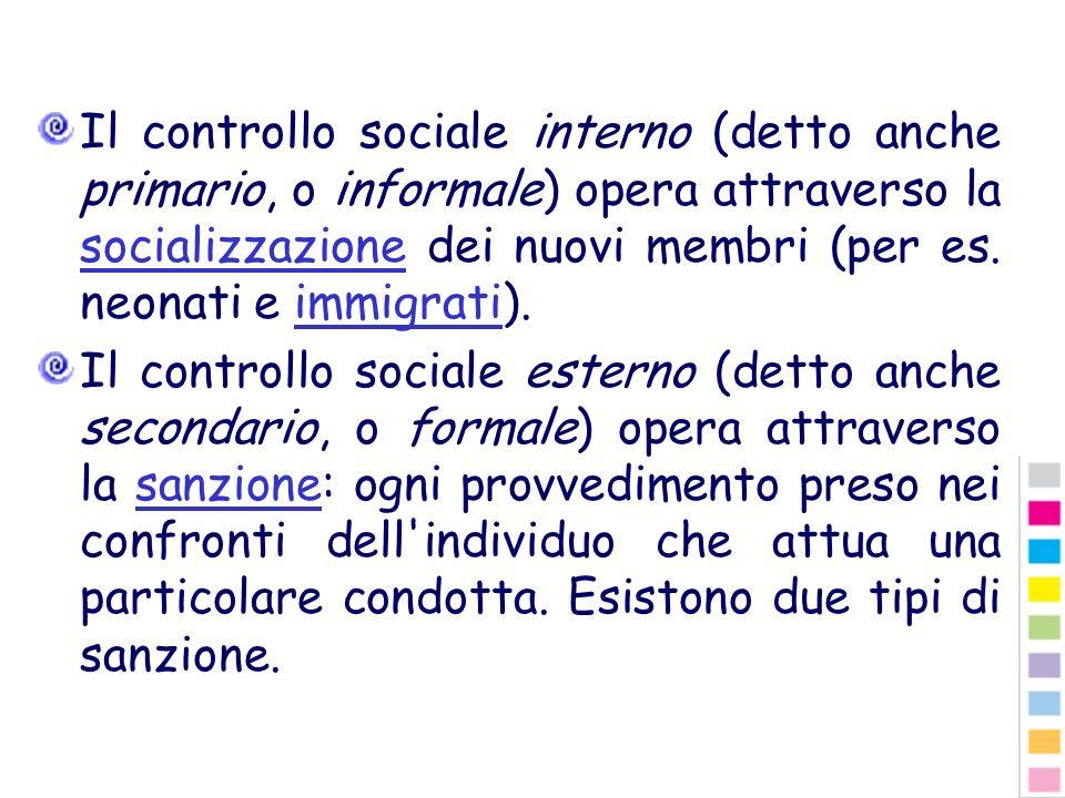 Il controllo sociale interno (detto anche primario, o informale) opera attraverso la socializzazione dei nuovi membri (per es. neonati e immigrati).