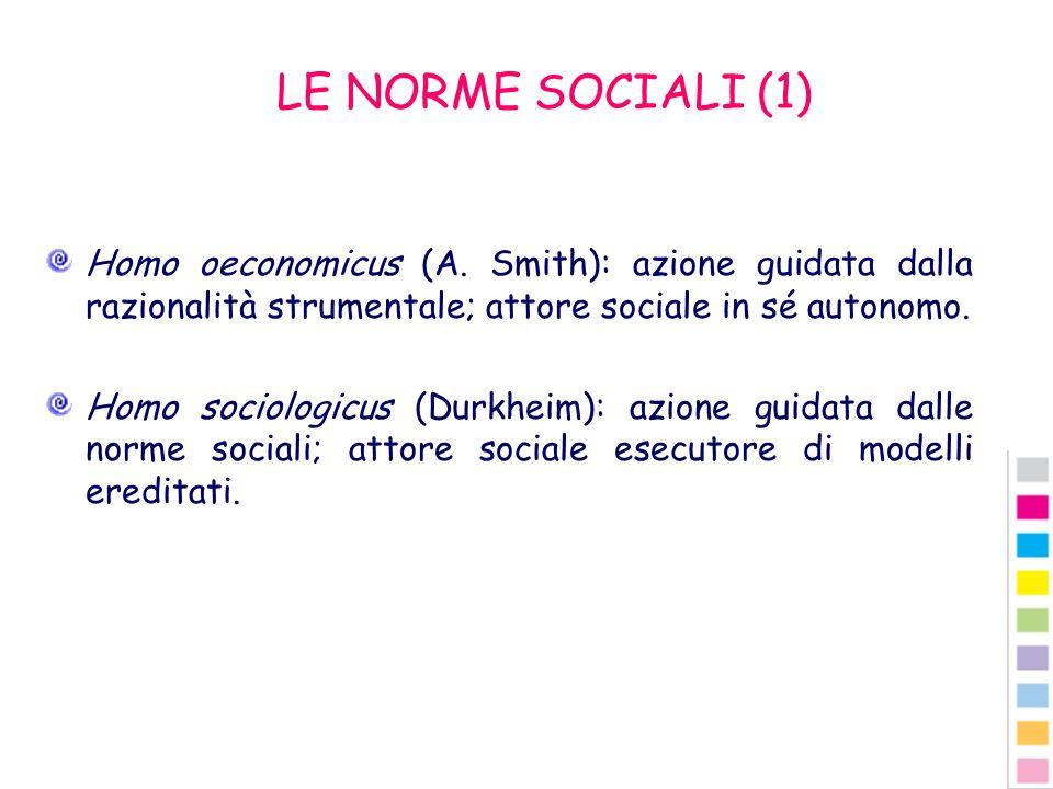 LE NORME SOCIALI (1) Homo oeconomicus (A. Smith): azione guidata dalla razionalità strumentale; attore sociale in sé autonomo.