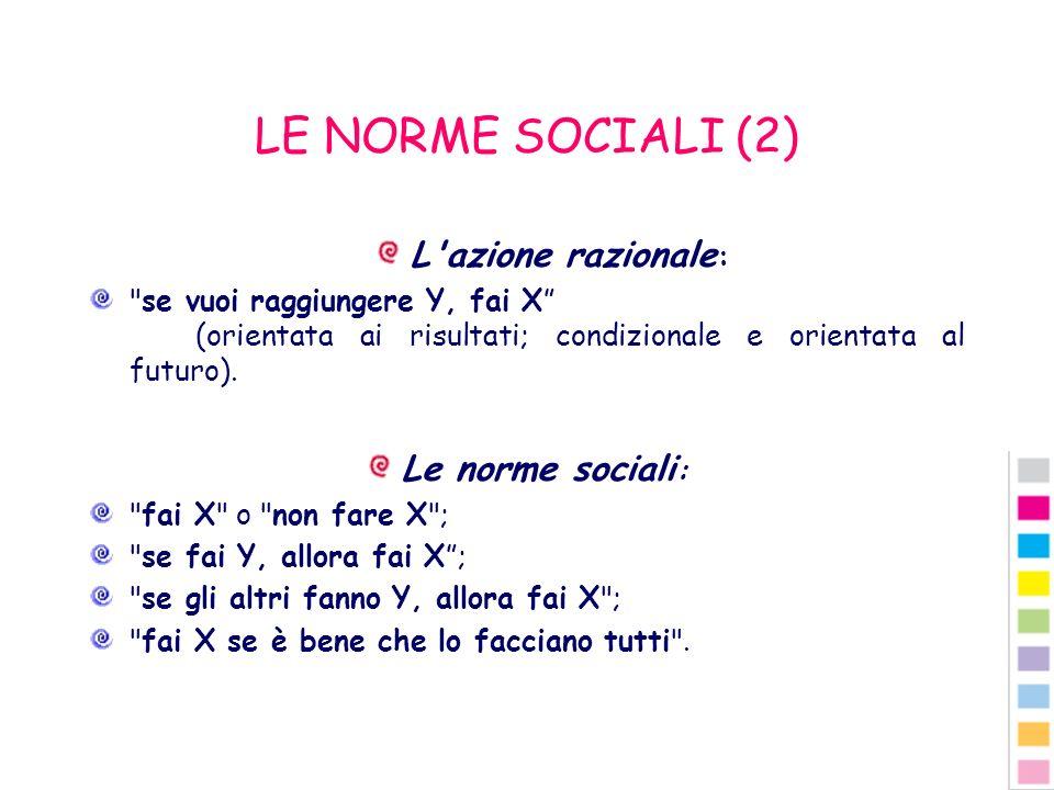 LE NORME SOCIALI (2) L azione razionale: Le norme sociali: