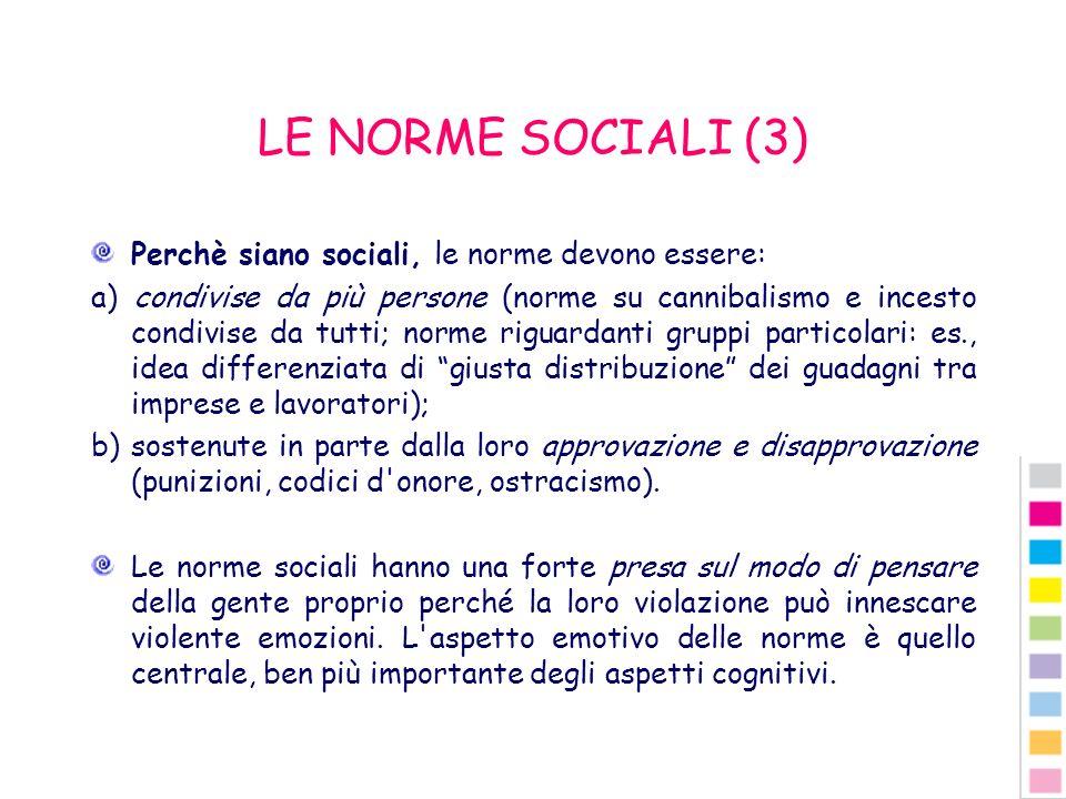 LE NORME SOCIALI (3) Perchè siano sociali, le norme devono essere: