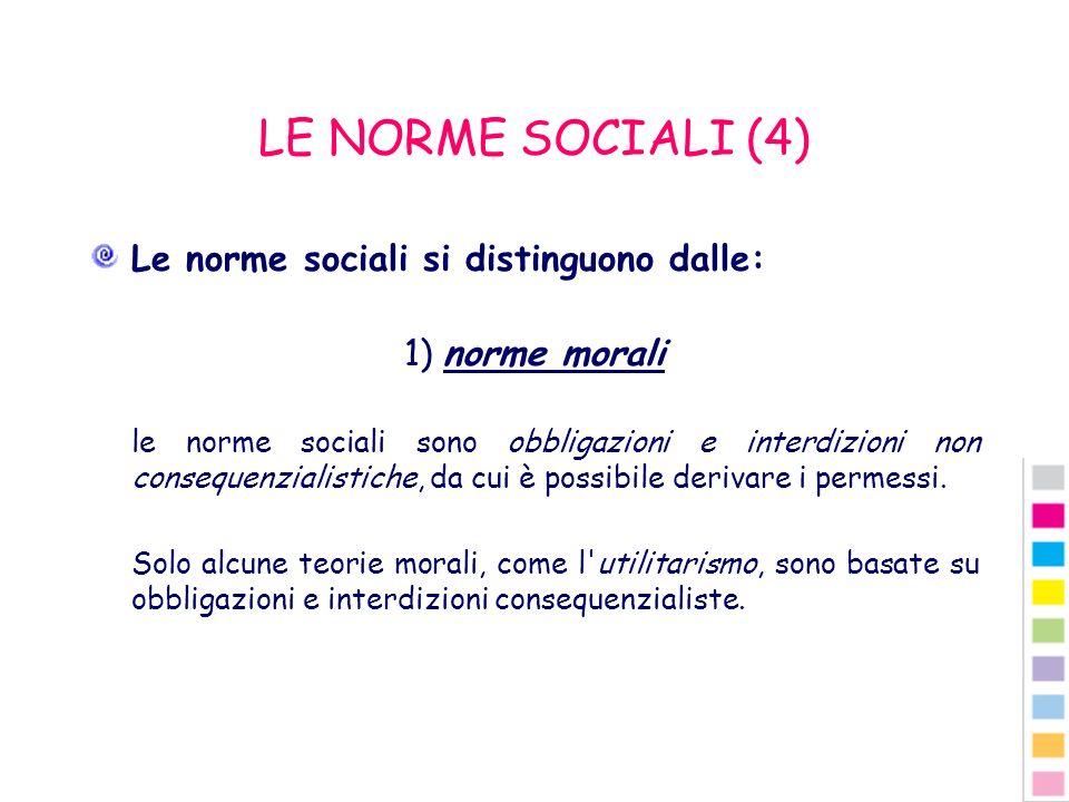 LE NORME SOCIALI (4) Le norme sociali si distinguono dalle: