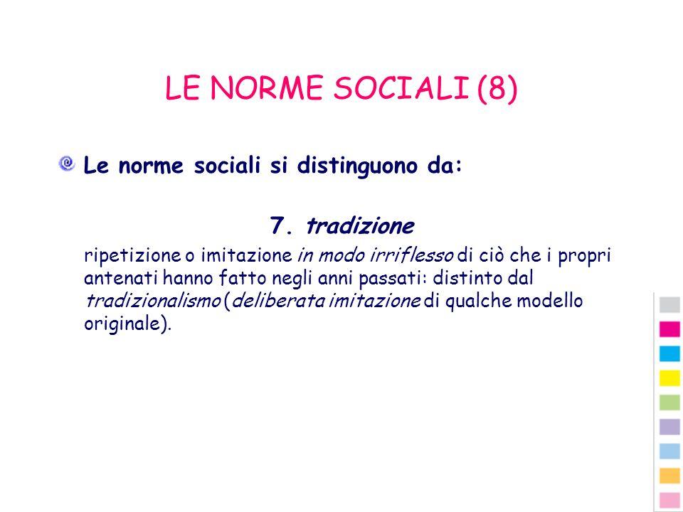 LE NORME SOCIALI (8) Le norme sociali si distinguono da: 7. tradizione