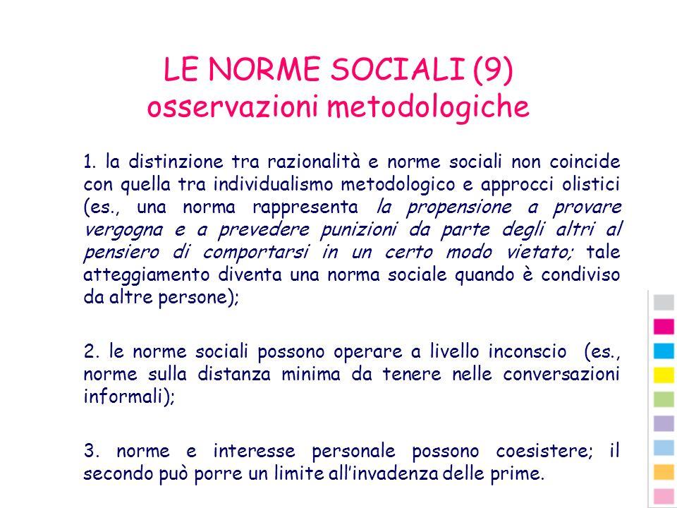 LE NORME SOCIALI (9) osservazioni metodologiche
