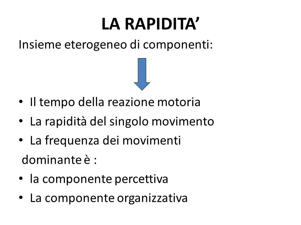 LA RAPIDITA' Insieme eterogeneo di componenti: