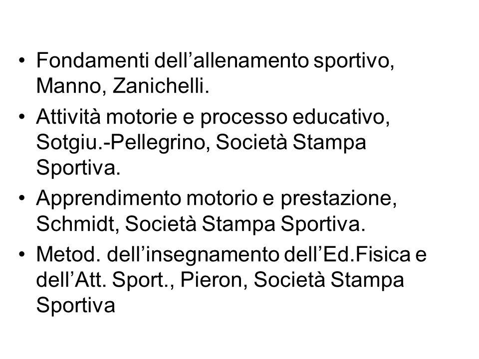 Fondamenti dell'allenamento sportivo, Manno, Zanichelli.