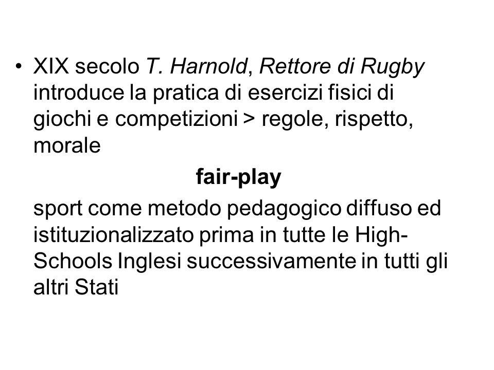 XIX secolo T. Harnold, Rettore di Rugby introduce la pratica di esercizi fisici di giochi e competizioni > regole, rispetto, morale