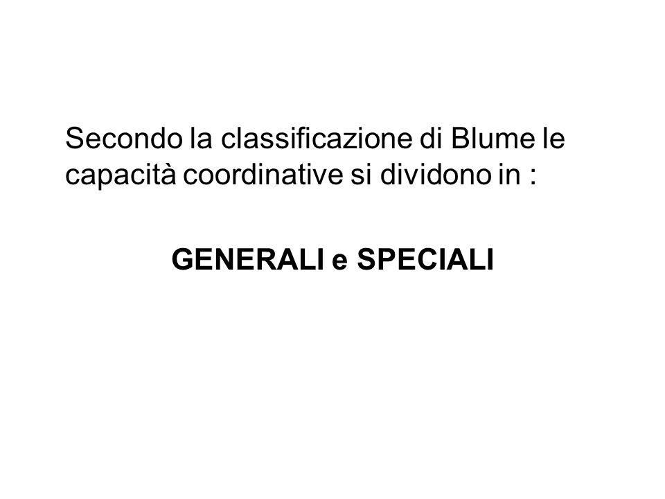 Secondo la classificazione di Blume le capacità coordinative si dividono in :