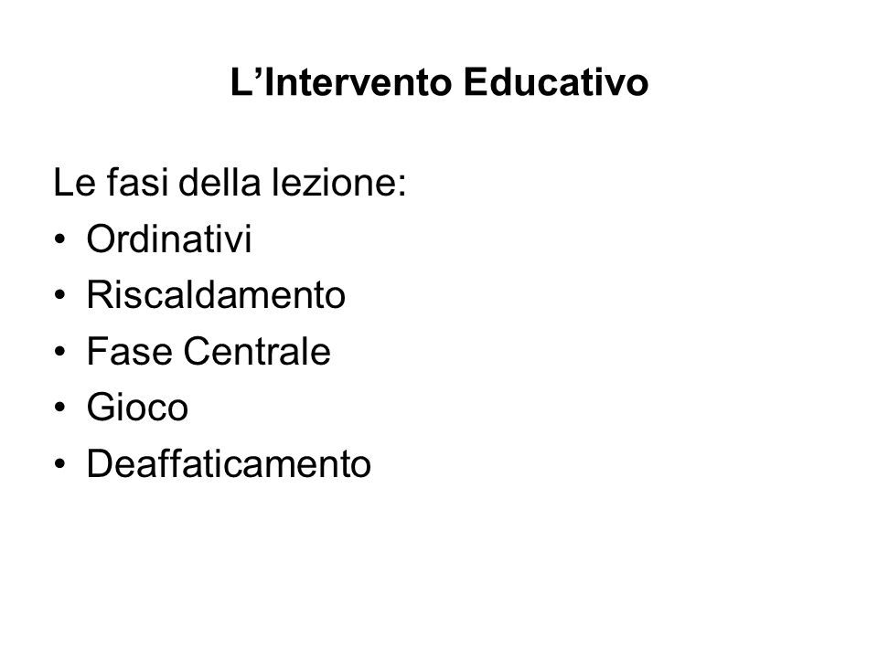 L'Intervento Educativo