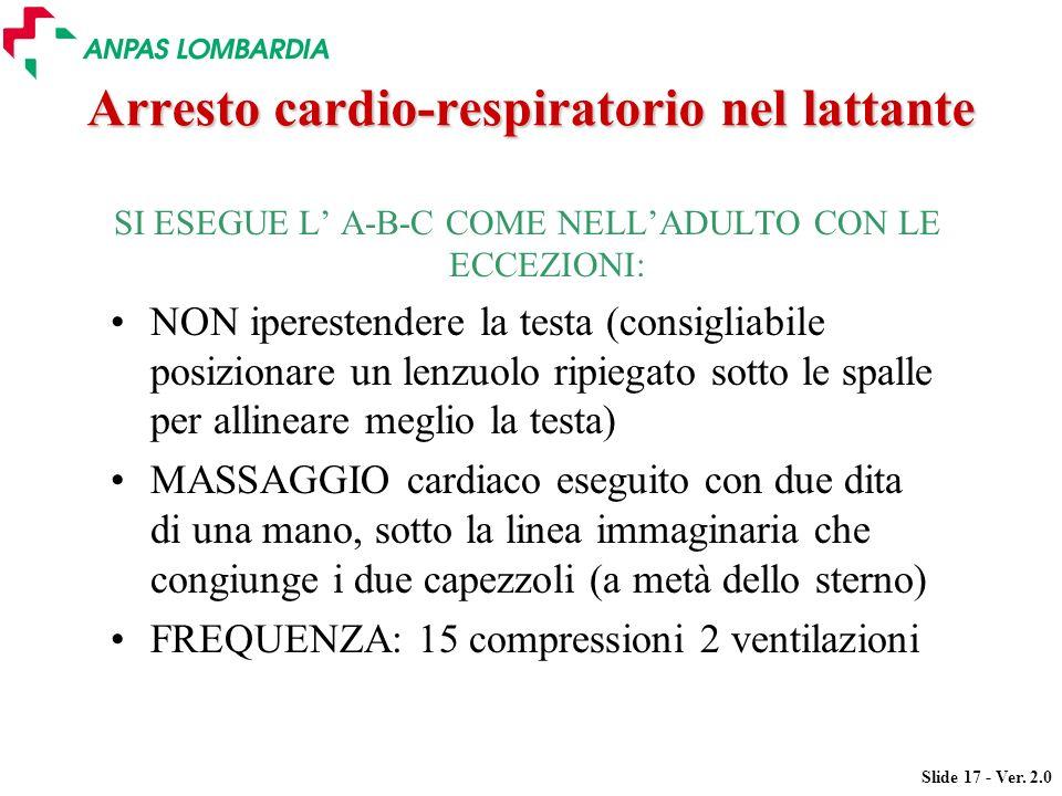 Arresto cardio-respiratorio nel lattante