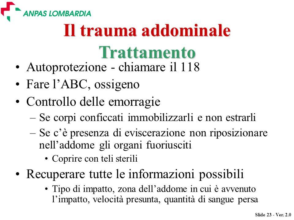 Il trauma addominale Trattamento