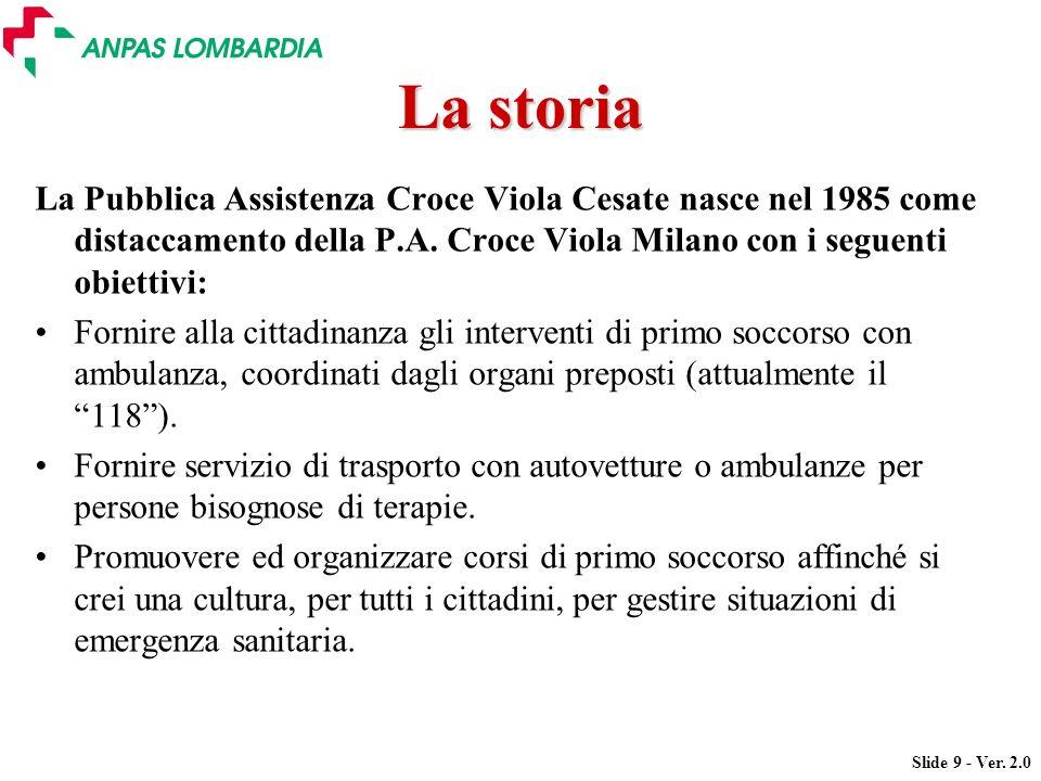 La storia La Pubblica Assistenza Croce Viola Cesate nasce nel 1985 come distaccamento della P.A. Croce Viola Milano con i seguenti obiettivi: