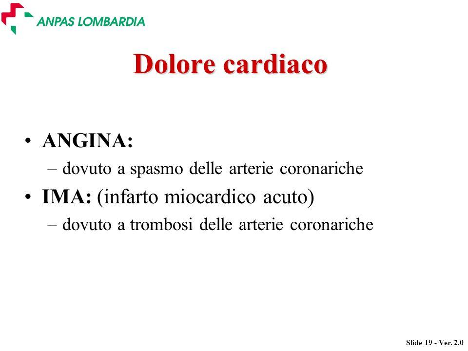 Dolore cardiaco ANGINA: IMA: (infarto miocardico acuto)