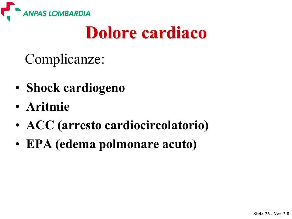 Dolore cardiaco Complicanze: Shock cardiogeno Aritmie