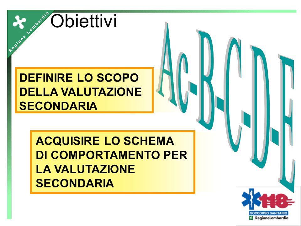 Obiettivi DEFINIRE LO SCOPO DELLA VALUTAZIONE SECONDARIA